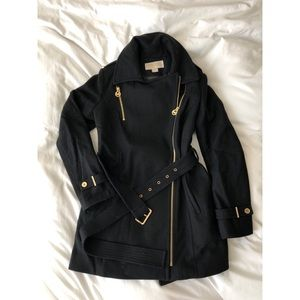 Michael Kors Black Peacoat with Gold Hardware